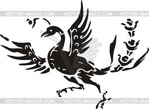 Mythic clipart black and white Chinese southern mythic bird - vector clipart black and white