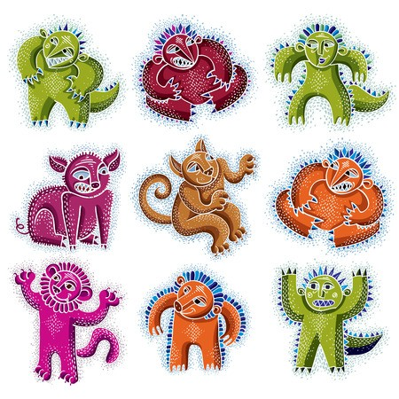 Mythic clipart png freeuse download Set of vector cool cartoon monsters, colorful weird creatures ... png freeuse download