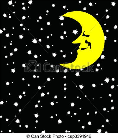 Nacht clipart image freeuse download Clip Art Vector of Background of night with stars and yellow month ... image freeuse download