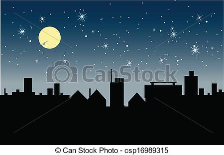 Nacht clipart image freeuse Vector Clip Art of City at night. - City at night with moon in the ... image freeuse