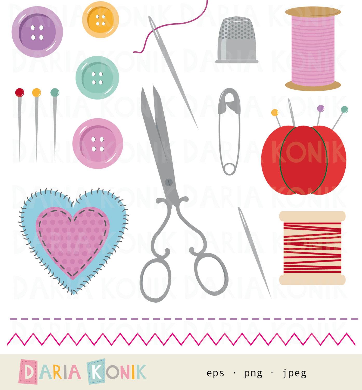 Nadel und faden clipart clip art stock Nähutensilien Clip Art Set-Schere Nadelkissen Knöpfe clip art stock