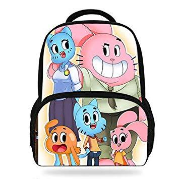 Amazon.com: Cartoon The Amazing World of Gumball Print Backpack Cute ... clip free stock