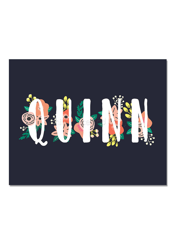 Name quinn in blue letters clipart image freeuse stock Quinn Personalized Name Sign Nursery Wall Art Baby Shower Decor ... image freeuse stock