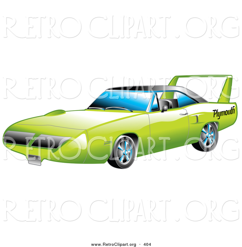 Nascarspoiler clipart svg free library Retro Clipart of a New Green 1970 Plymouth Road Runner ... svg free library