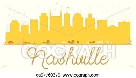 Nashville clipart clip art freeuse library Vector Clipart - Nashville city skyline golden silhouette ... clip art freeuse library