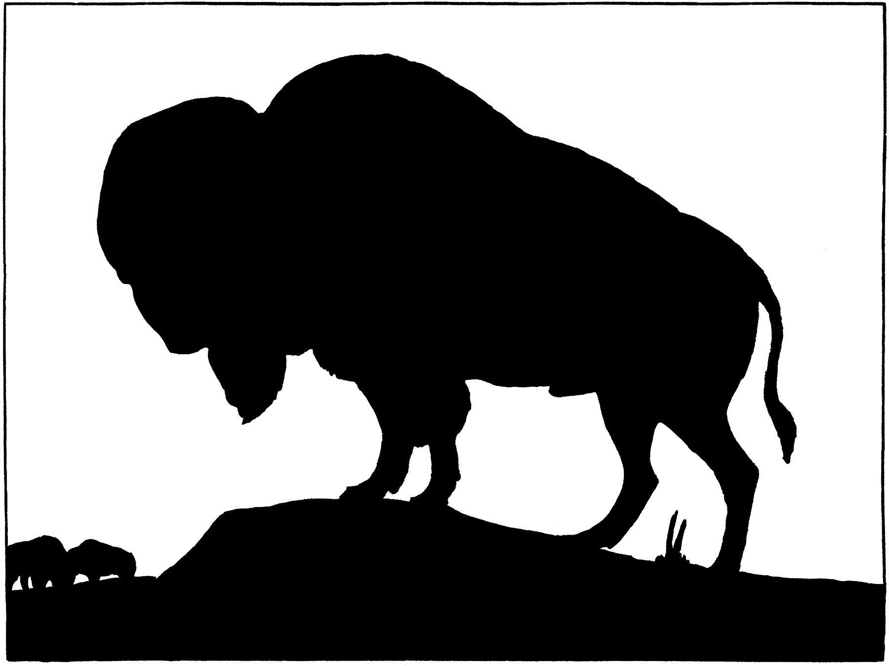 Native american buffalo clipart free silhouette vector free download Vintage Buffalo Silhouette Image! | Barn Wood Projects ... vector free download