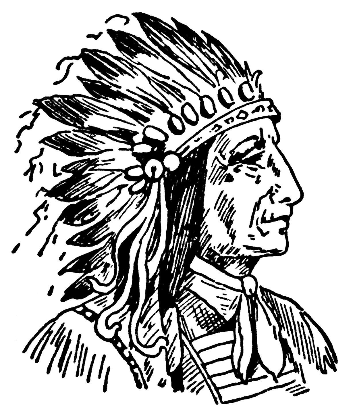Native american chief clipart graphic black and white stock Indian chief clip art, vintage Native American illustration ... graphic black and white stock