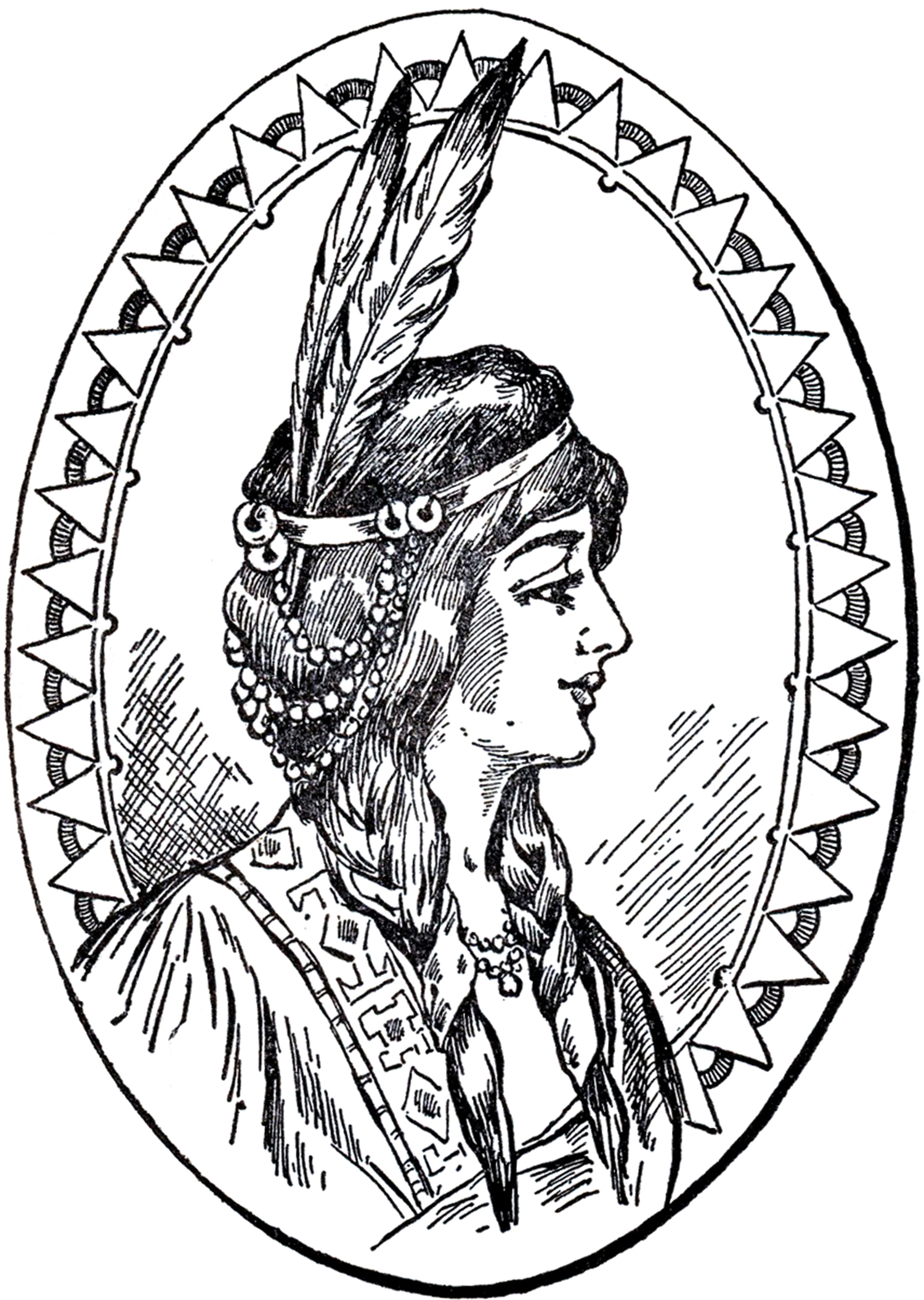 Native american woman headdress clipart black and white clipart library download 4 Native American Clipart! - The Graphics Fairy clipart library download