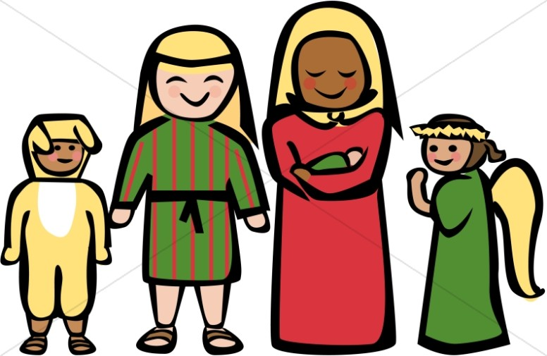 Nativity cartoon clipart jpg free download Cartoon Style Holy Family Clipart | Nativity Clipart jpg free download