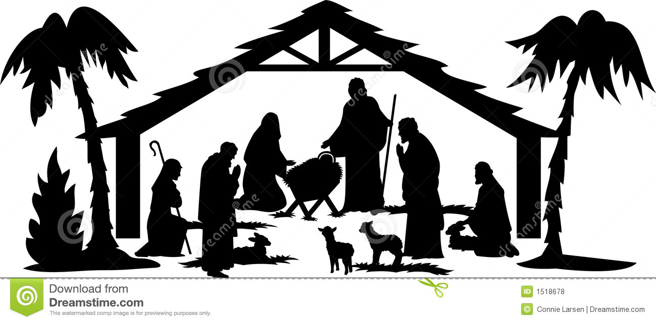 Nativity scene clipart black white image Nativity Scene Black And White | Free download best Nativity ... image