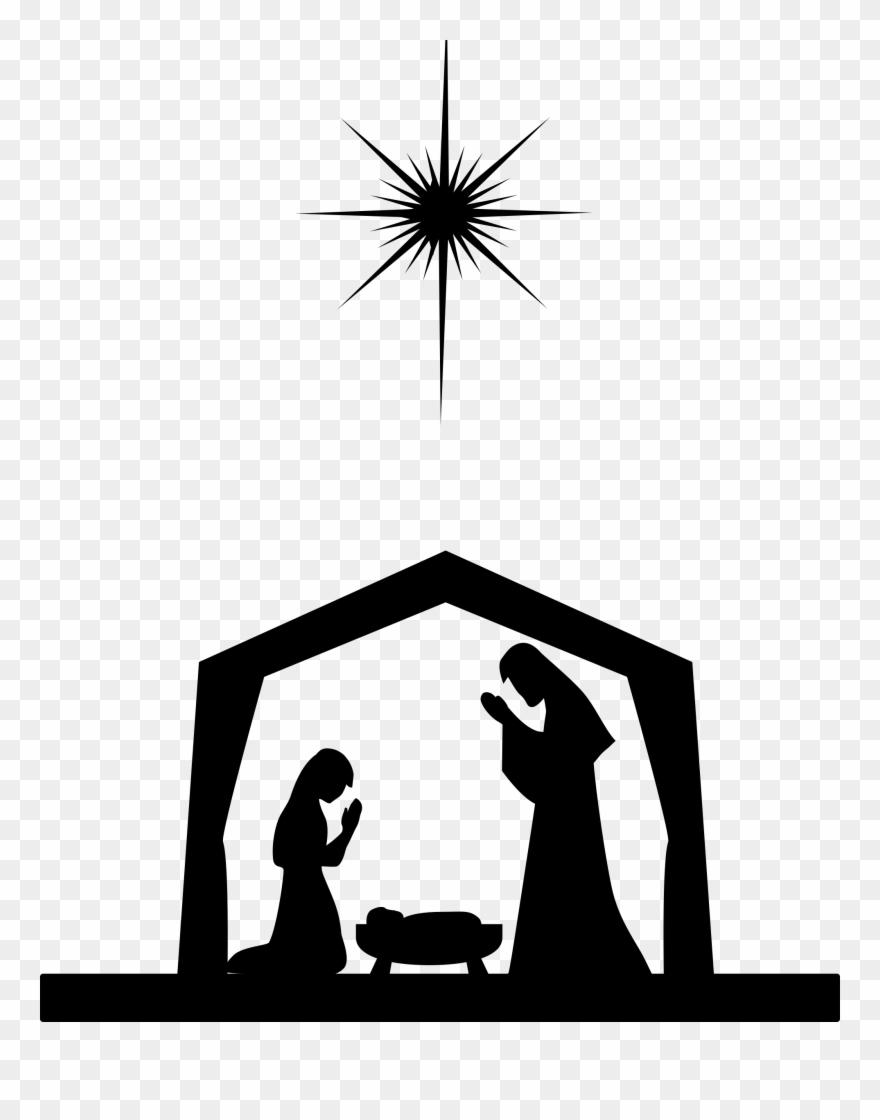 Nativity scene clipart silhouette picture black and white Nativity Scene Nativity Of Jesus Silhouette Christ - O Come ... picture black and white