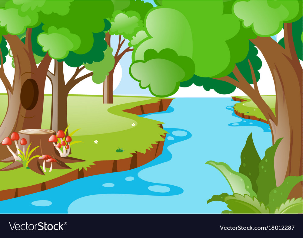 Natural scene clipart picture library Nature scene with river in the forest picture library
