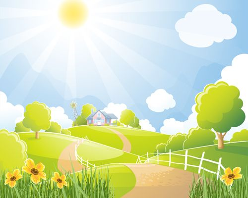 Natural scene clipart svg library Beautiful natural scenery and sun vector 03 | 1 Landscape&Background ... svg library