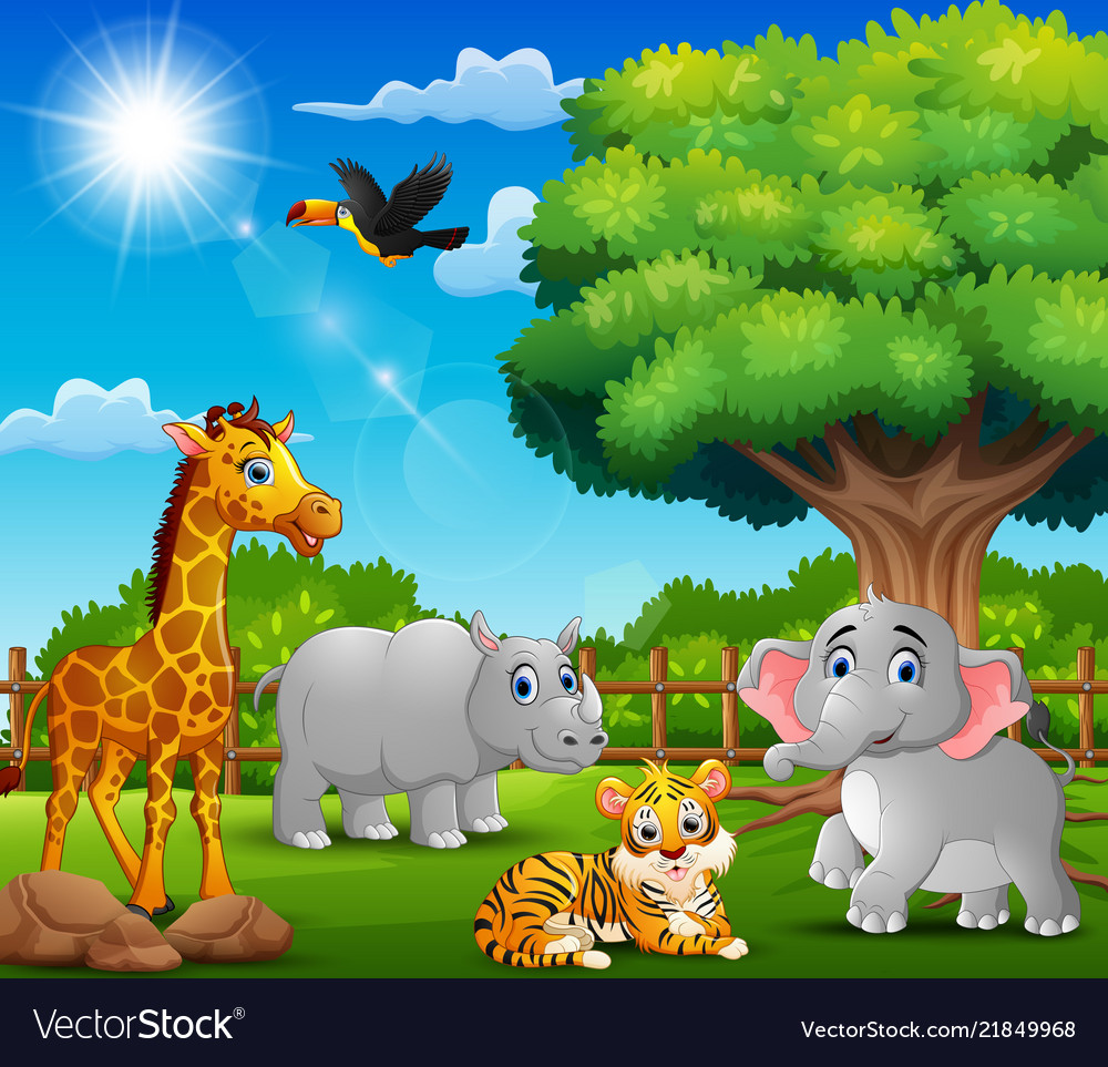 Natural scene clipart vector free library Happy animals on nature scene vector free library