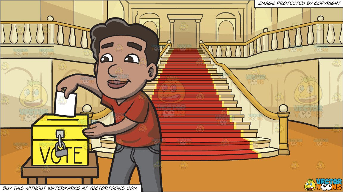 Naturalized clipart graphic freeuse stock A Naturalized Citizen Dropping His Ballot In The Ballot Box and A Grand  Staircase Background graphic freeuse stock