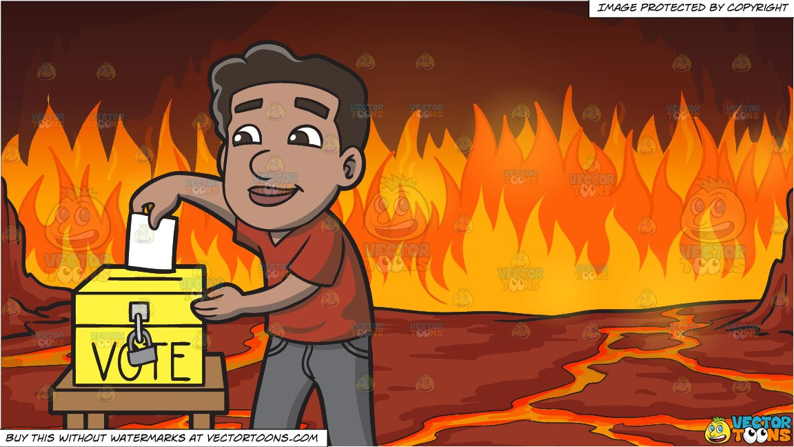 Naturalized clipart free A Naturalized Citizen Dropping His Ballot In The Ballot Box and Fires Of  Hell Background free