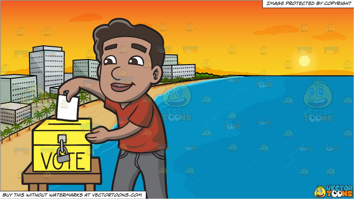 Naturalized clipart picture black and white A Naturalized Citizen Dropping His Ballot In The Ballot Box and A Beach  Lined With Hotels At Sunset Background picture black and white