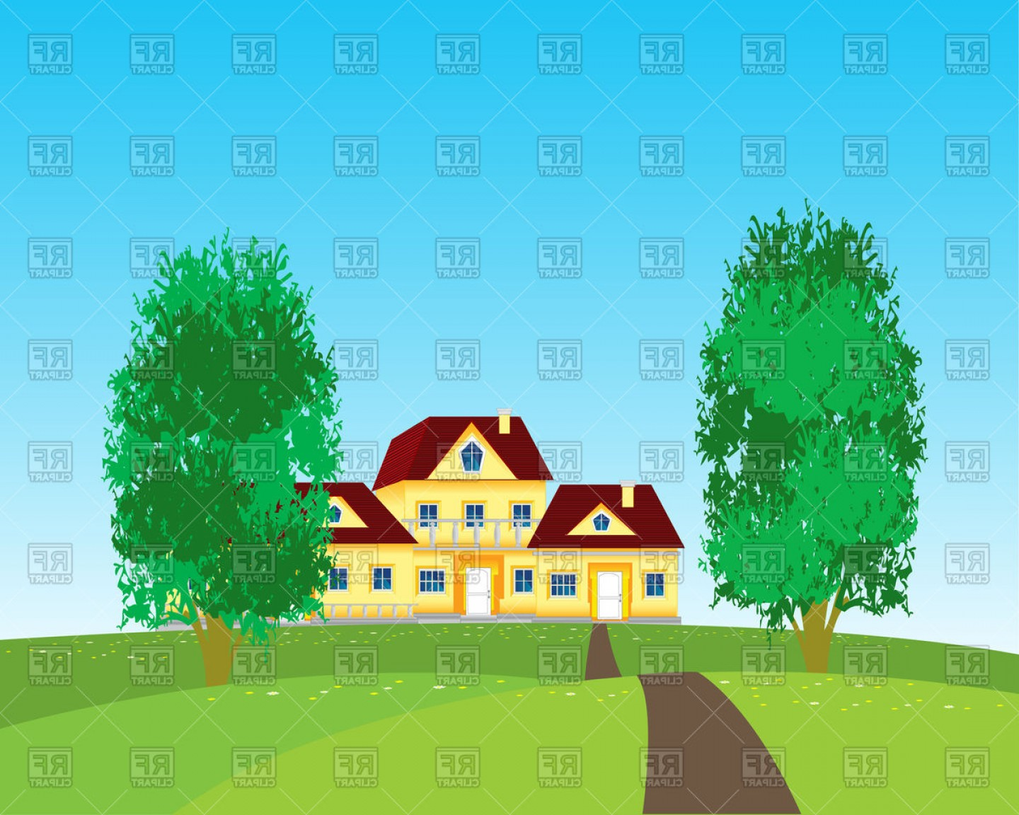 Nature vector clipart clip art black and white stock Village Houses On Nature Vector Clipart | SOIDERGI clip art black and white stock