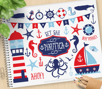 Nautica clipart png stock Nautica Boy Clipart, Sailing, Nautical, Red and Blue Sailboats png stock