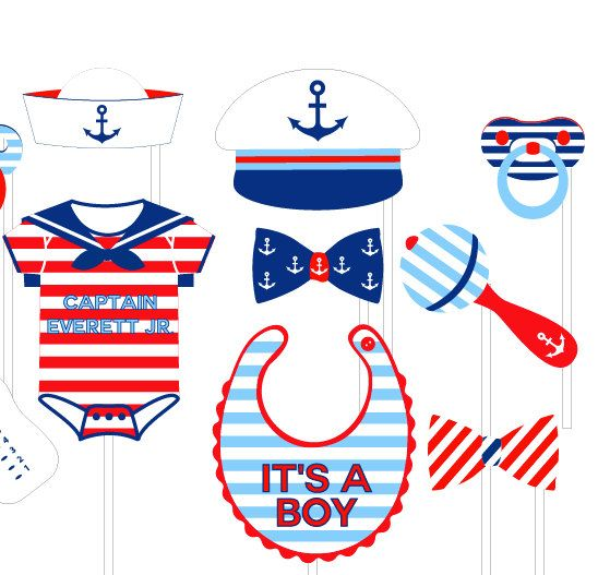 Nautical baby shower clipart picture library library Nautical Baby Shower Photo Booth Props Personalized - Printable or ... picture library library