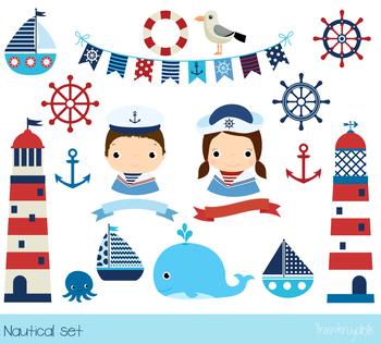 Sailor clipart banner freeuse stock Nautical clipart, Sailboat clip art, Lighthouse clipart, Sailor, anchor,  whale banner freeuse stock