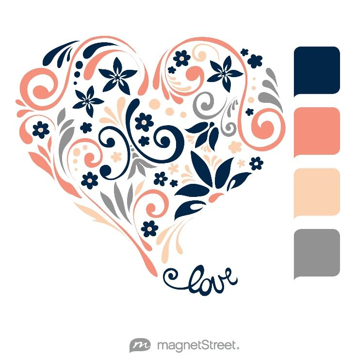 Navy blue & coral wedding hearts clipart clip Navy, Coral, Peach, and Classic Gray Wedding Color Palette - free ... clip