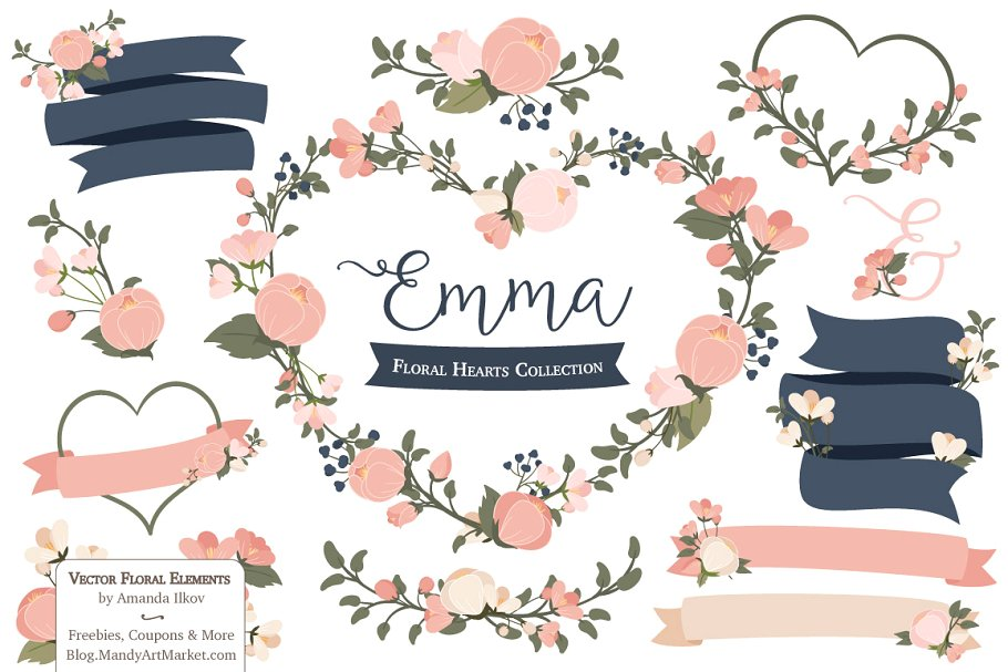 Navy blue & coral wedding hearts clipart jpg freeuse stock Navy & Blush Floral Heart Clipart ~ Illustrations ~ Creative Market jpg freeuse stock