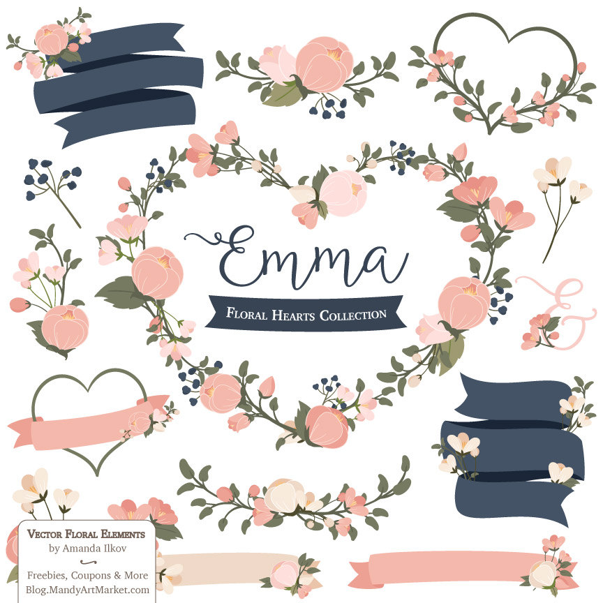 Navy blue & coral wedding hearts clipart clip library library Free Navy Floral Cliparts, Download Free Clip Art, Free Clip Art on ... clip library library