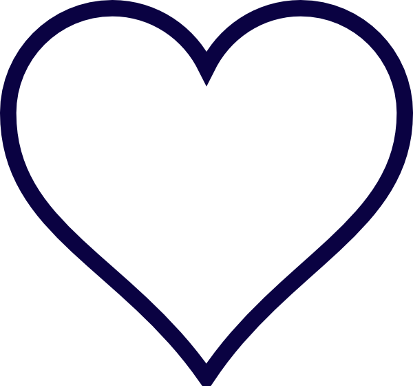 Navy blue heart clipart vector black and white library Midnight Blue Outline Heart Clip Art at Clker.com - vector clip art ... vector black and white library