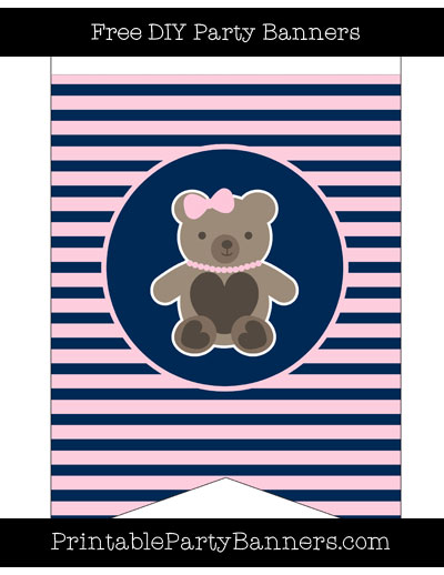 Navy blue teddy bear with pink clipart clipart freeuse library Pink and Navy Blue Swallowtail Horizontal Striped Girl Teddy Bear clipart freeuse library
