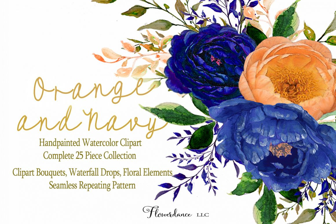 Navy flowers clipart banner download Watercolor Floral Clipart Bundle Orange and Navy banner download
