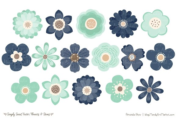 Navy flowers clipart vector free download Navy & Mint Flowers Clipart vector free download