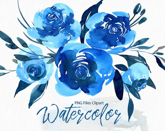 Navy flowers clipart svg royalty free Watercolor Flowers Clipart Bright Blue Navy Roses Floral ... svg royalty free