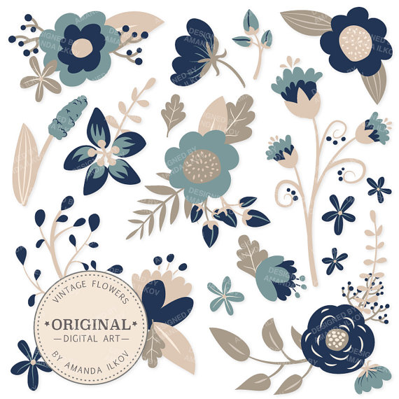 Navy flowers clipart graphic black and white download SPRING SALE Premium Navy Blue Floral Clipart & Flower ... graphic black and white download