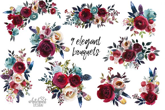 Navy flowers clipart banner black and white Merlot & Navy Boho Floral Design Kit banner black and white