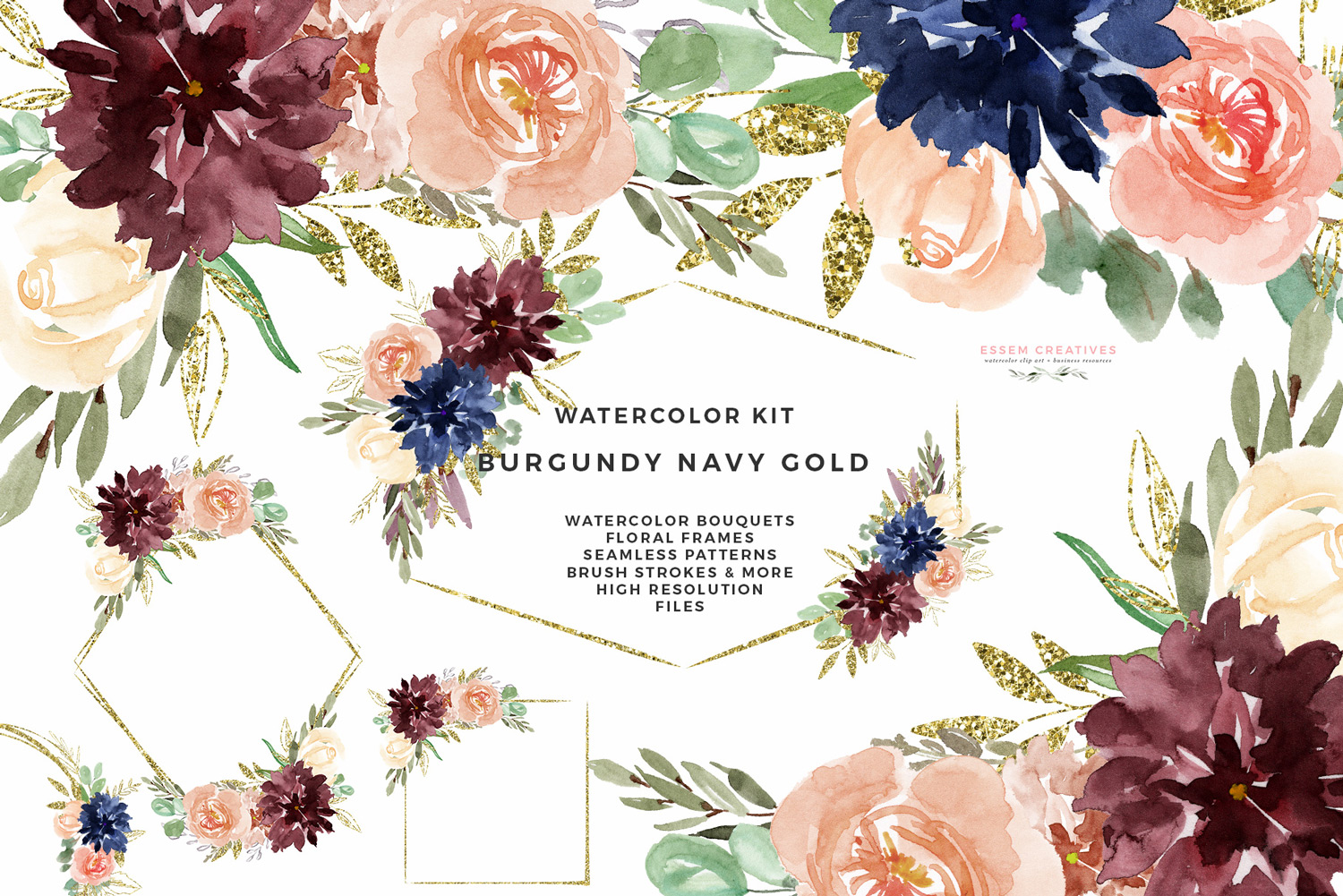 Rose gold clipart flower image transparent Burgundy Navy Gold Watercolor Flowers Clipart, Geometric Gold Glitter  Floral Frames Borders Seamless Patterns Digital Papers image transparent
