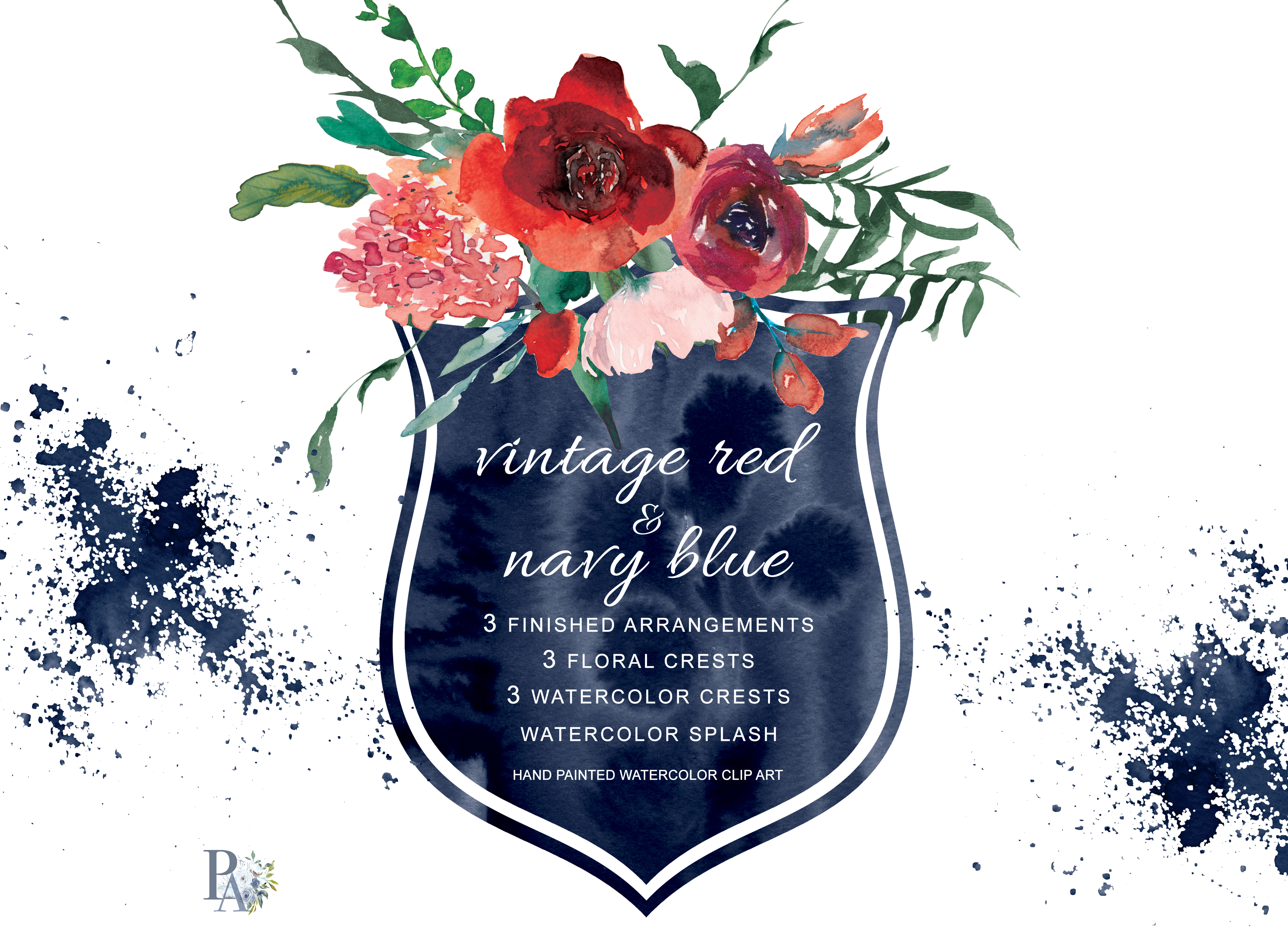Navy flowers clipart clip library stock Watercolor Vintage Red & Navy Blue Flowers Clipart clip library stock
