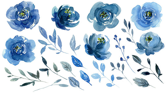 Navy flowers clipart svg black and white download Watercolor Blue Flowers Clipart Indigo Navy Sapphire Roses ... svg black and white download