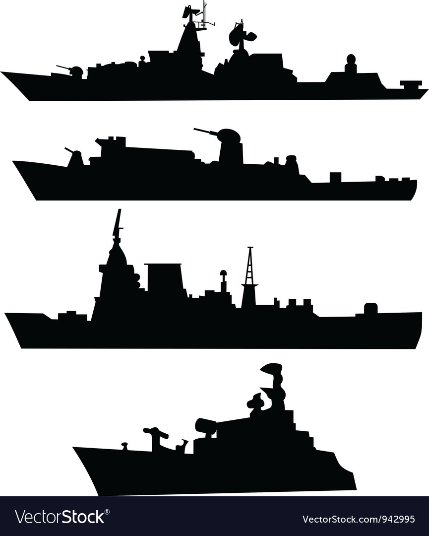 Navy ship silhouette clipart png free library Four silhouettes of a military ship png free library