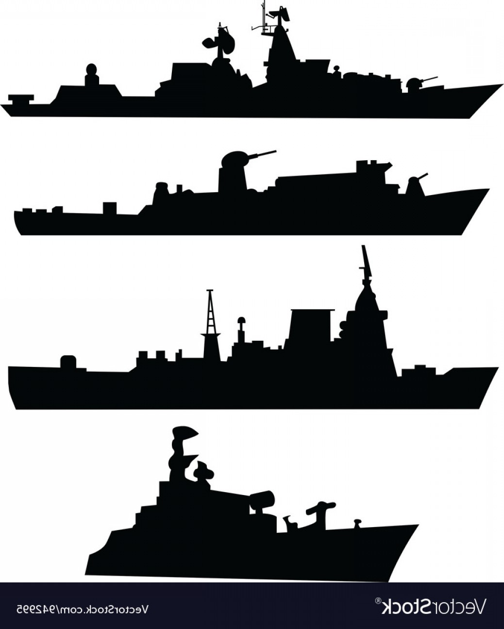 Navy ship silhouette clipart black and white library Four Silhouettes Of A Military Ship Vector | SOIDERGI black and white library