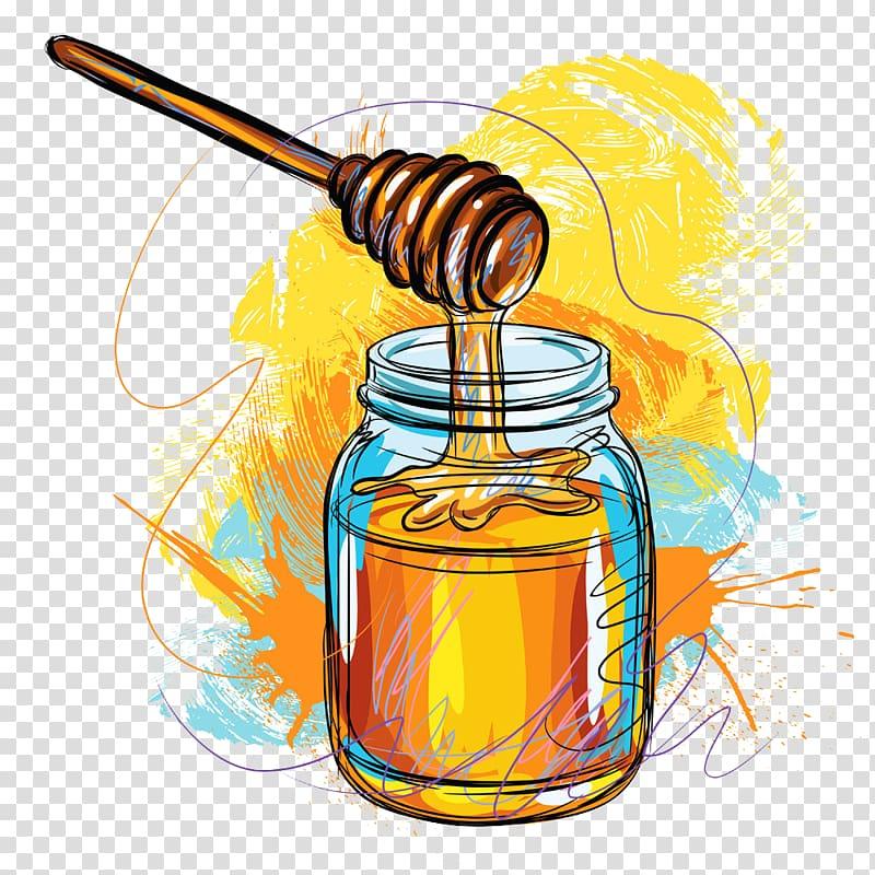Nectar logo clipart clip royalty free stock Yuja tea Honey bee Nectar Illustration, Hand-painted ... clip royalty free stock