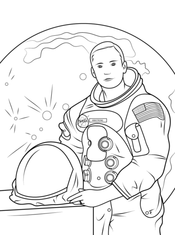 Neil armstrong clipart svg black and white stock Neil Armstrong coloring page | Free Printable Coloring Pages svg black and white stock
