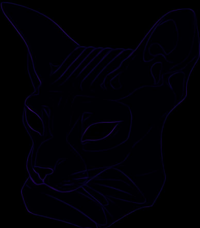 Neon black cat clipart png transparent download neon cat sphynx head purple sticker violet glow remixit... png transparent download