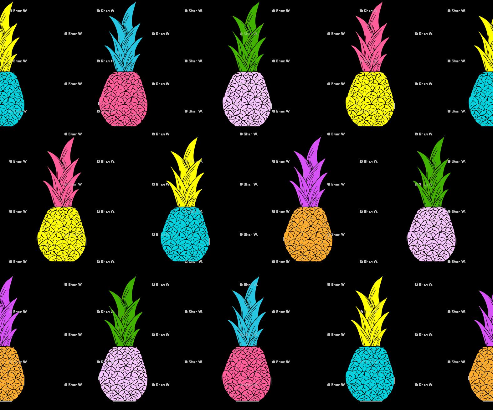 Neon pumpkin clipart clip art library stock Neon Pineapples fabric - shandubdesigns - Spoonflower clip art library stock