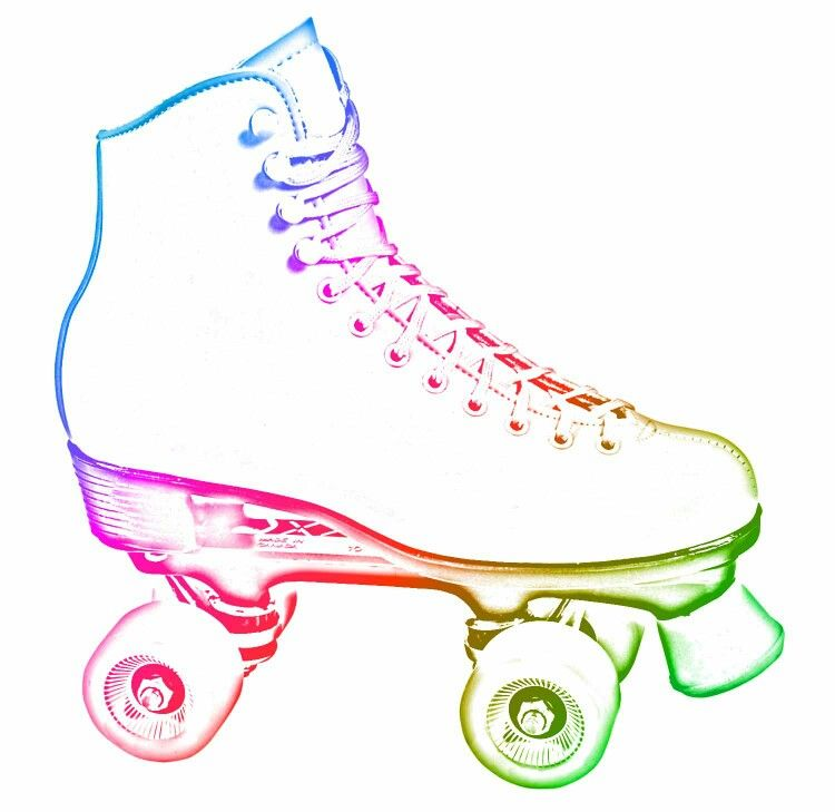 Neon roller skate clipart on black background royalty free stock Rainbow neon rollerskate | Iridescent Lucid Dream Woman Spin ... royalty free stock