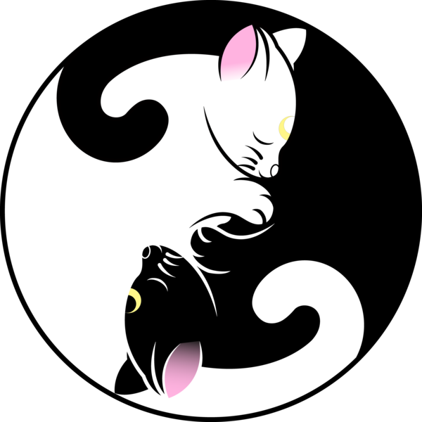 Nerdy cat clipart png royalty free Luna and Artemis Yin Yang Symbol by SayurixSama on DeviantArt ... png royalty free