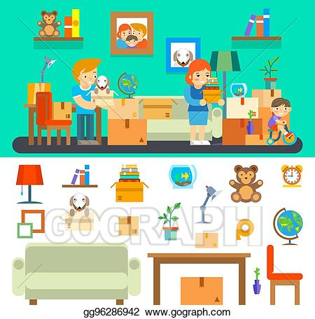 New apartment clipart clip art transparent Vector Art - Family moves in new apartment. changing house ... clip art transparent