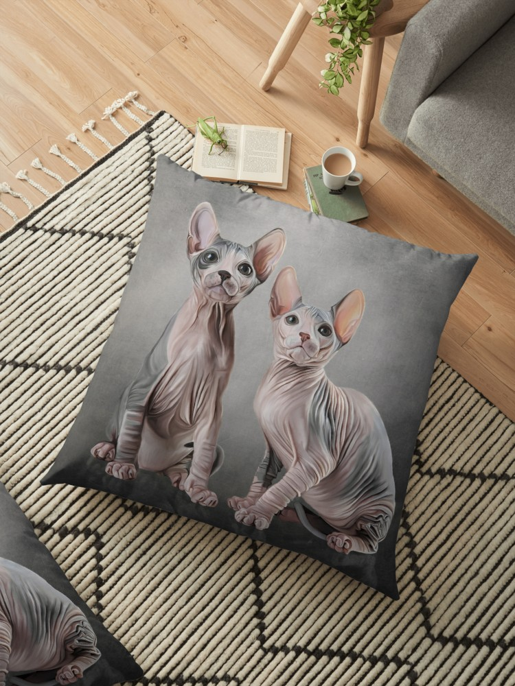 New hairless cat at home funny clipart graphic stock \'Drawing two cats Sphynx, hairless\' Floor Pillow by bonidog graphic stock