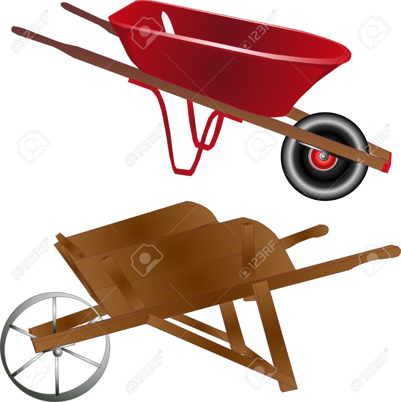 New vs old clipart graphic black and white library Old And New Wheelbarrows, Wooden And Metal Royalty Free Cliparts ... graphic black and white library