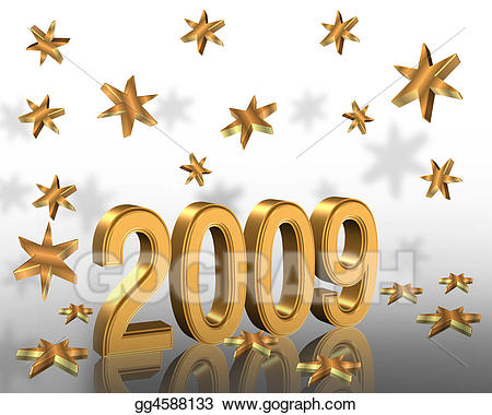 New year 2009 clipart graphic royalty free stock Stock Illustrations - New year 2009 3d gold . Stock Clipart ... graphic royalty free stock